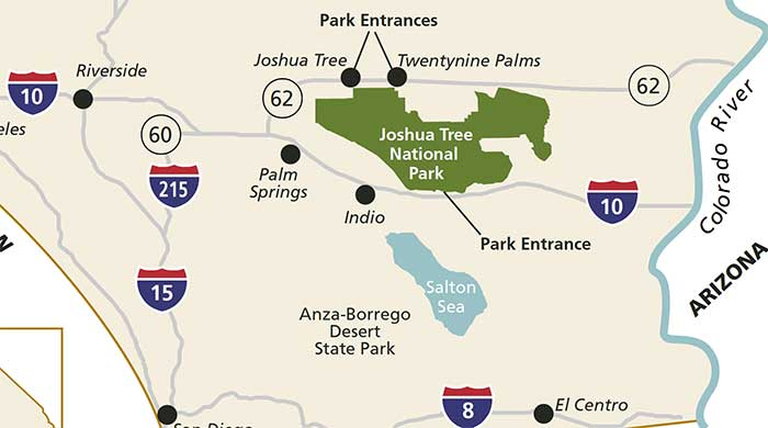 Twentynine Palms California Map.Joshua Tree National Map And Location Desertusa