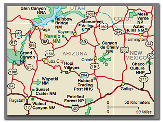 Navajo Reservation Arizona Map.Navajo National Monument Desertusa