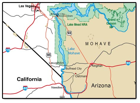 Map of Oatman's location in the Mohave Desert