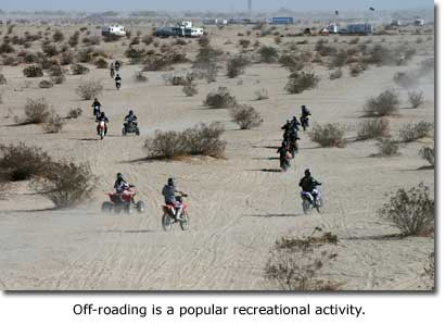 Off-roading is a popular recreational activity.