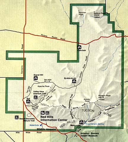 Saguaro National Park Map West Saguaro West Map