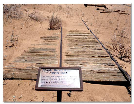The old plank road in imperial sand dunes desertusa