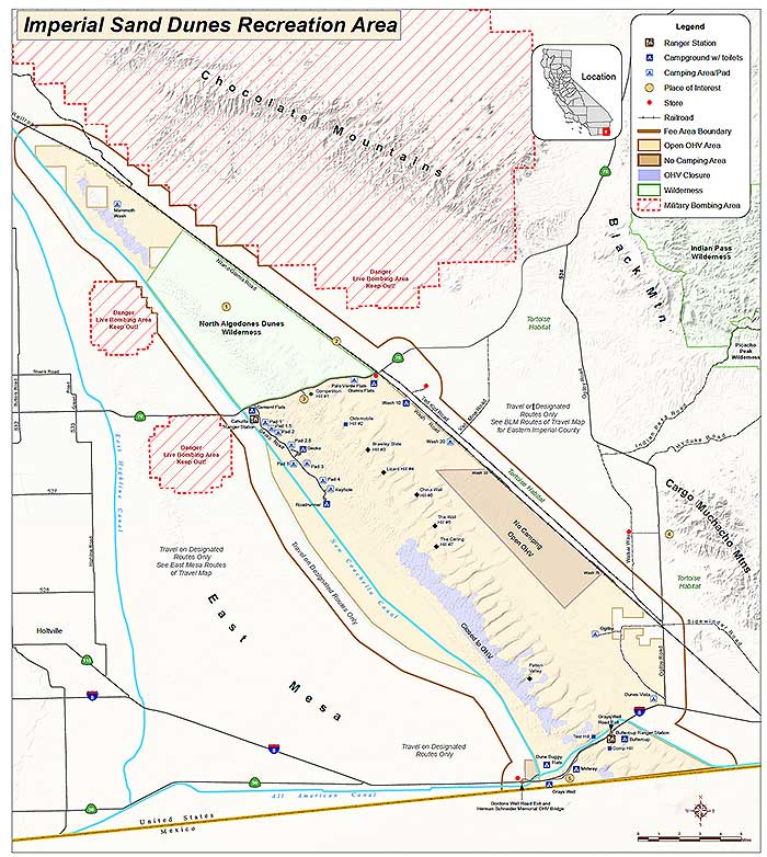 Brawley California Map.Imperial Sand Dunes Recreational Areas Mammoth Wash Glamis Dunes
